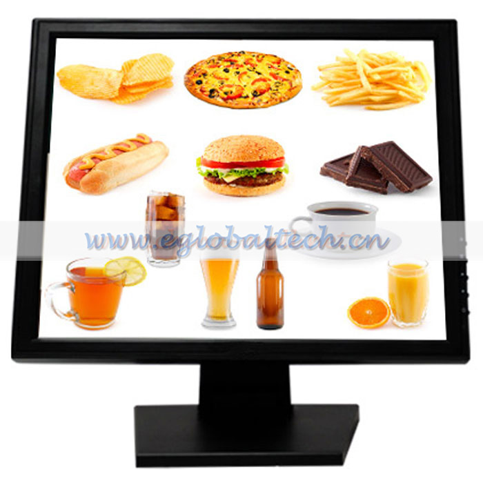 15inch Monitor Touch Screen for Club Restaurant, Bar, Hotel LED Display Monitor USB port